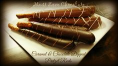 Caramel Chocolate Pretzel Rods Chocolate Pretzel Rods, Chocolate Caramels, Chocolate Dipped, Sausage, Sweet, Food, Chocolate Kisses, Meal, Sausages