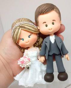 Wedding Couples, Wedding Bride, Wedding Cake Toppers, Wedding Cakes, Bride And Groom Cake Toppers, Wedding Anniversary Cakes, Clay Mugs, Fondant Toppers, Fondant Figures