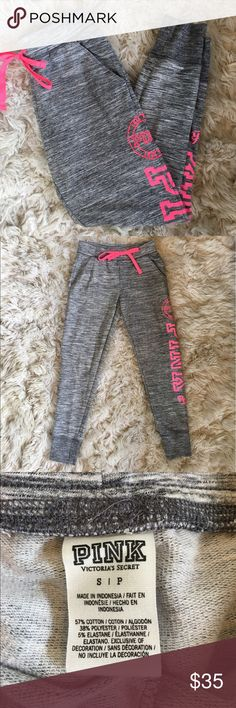 PINK Victoria Secret Jogger Grey with pink lettering joggers in perfect condition! PINK Victoria's Secret Pants Track Pants & Joggers