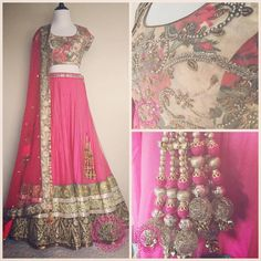 A gorgeous custom engagement #lehenga for a very, special Studio East6 customer! Sage greens & coral reds and pinks make for a beautiful, rustic color combo. Interested in a custom order? Email us: sales@studioeast6.com #studioeast6 #lengha #indianbride #indianbridal #indianrunway #indianstyle #indianwedding #bollywoodstyle