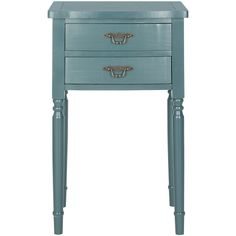 Safavieh Teal Bernadette End Table (€145) ❤ liked on Polyvore featuring home, furniture, tables, accent tables, safavieh, teal end table, teal furniture, safavieh furniture and teal side table