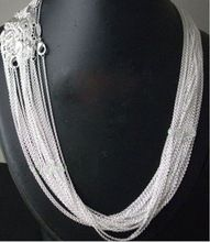 """US $4.95 10pcs/lot Promotion! wholesale 925 sterling silver necklace, silver fashion jewelry Rolo Chain 1mm Necklace 16 18 20 22 24"""". Aliexpress product"""