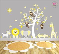 Jungle Nursery Mural. White Tree Decal by EnchantedInteriorsUK