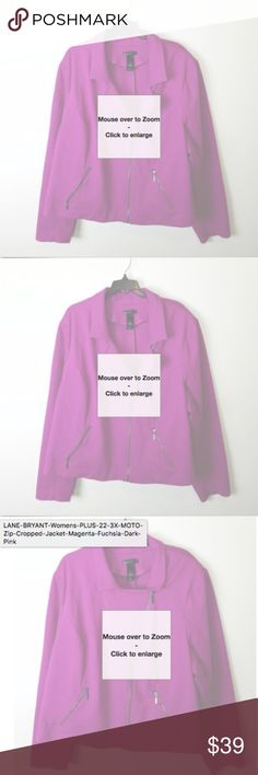 Lane Bryant Women's Plus Moto Zip Jacket Sz 28 Lane Bryant Women's Plus size 28 Moto Zip Jacket Magenta Color. This Jacket is cropped and has no flaws nor evidence of wear. The jacket is made of 67% Rayon, 28% Nylon and 5% Spandex. Lane Bryant Jackets & Coats