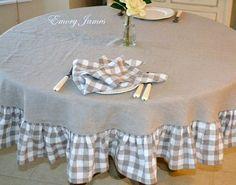 Mantel redondo lino con volantes comprobada, país francés, lino Natural, comprobado mantel de lino, ropa de lino orgánico