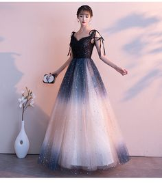 Gradient Black Sequins and Tulle Straps Prom Dresses Beautiful Formal Gowns - Vestidos Evening Dress Long, Black Evening Dresses, Black Prom Dresses, Elegant Dresses, Day Dresses, Pretty Dresses, Beautiful Dresses, Dress Black, Work Dresses