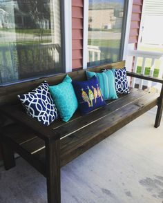 Summer front porch.  DIY bench (Ana White plans)