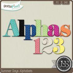 Summer Days Alphabets :: Gotta Pixel Digital Scrapbook Store by Just So Scrappy $2.99
