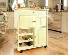 Buttermilk Wood Trolley Kitchen Furniture Cart Rack Compact Requires Assembly | eBay