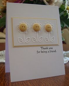 card idea, cuttlebug embossed cards, button flowers, friend cards, daisies, emboss imag, diy project, cuttlebug folder, special friends
