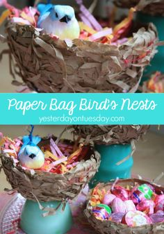 DIY Paper Bag Birds Nests Spring Decor