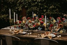 Marigold Linnea Napkins and Toffee Vintage Linen Runner on a wood farm table by She Said Yes Events
