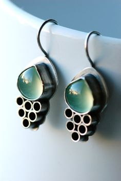 Unique Earrings in Sterling Silver and Green by EONDesign on Etsy, $82.00