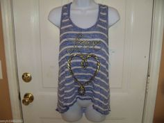 Stranded Love Blue and White Knit Top Size Large Women's  NEW  #Stranded #TankCami #Casual