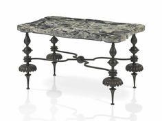 SERGE ROCHE (1898-1988) AN IMPORTANT LOW TABLE, CIRCA 1935 executed by Gilbert Poillerat, scagliola, wrought-iron
