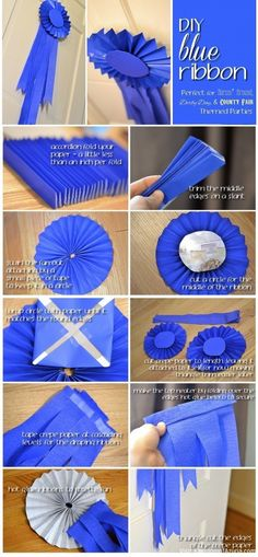 Blue Ribbon DIY: with caterer's approval, could have pie baking contest.award with blue ribbon Cowboy Party, Horse Party, Run For The Roses, Derby Day, Diy Ribbon, Ribbon Rose, Sewing Projects For Beginners, Party Time, 21 Party