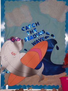 "caught a wave bulletin board ideas   Catch the Reading Wave"" bulletin board"