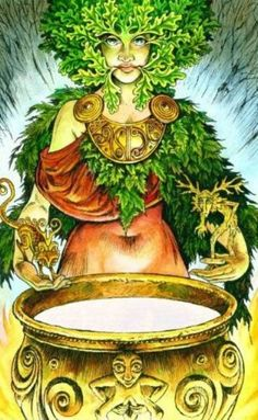 3 The Empress - Greenwoman - from the Wildwood Tarot Wildwood Tarot, Tarot Meanings, Earth Goddess, Oracle Tarot, The Empress, Green Man, Tarot Cards, Mother Earth, Numerology