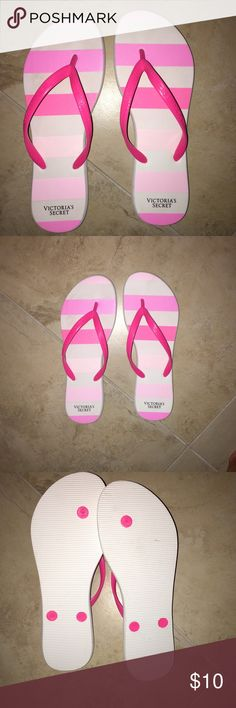 Victoria's Secret pink flip flops. Size small Victoria's Secret pink flip flops. Size small. The show says its from 5-6. But I'm a 7 & I tried them on and they fit fine. PINK Victoria's Secret Shoes Sandals