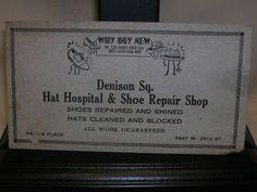 "Vintage Ink Botter Hat Hospital & Shoe Repair Shop Paul's Place 6"" X 3 1/4"" #InkBlotter"
