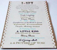 30 I Spy Customized Cards Wedding Reception Activity by ForJasper