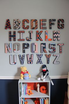 Alphabet wall: each guest at the baby shower decorated a letter and signed a note on the back.