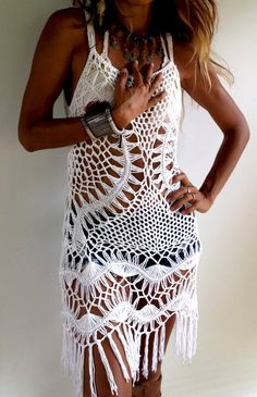Macrame Black Dress/OffWhite crochet dress/Festival dress/