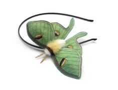 Luna Moth Headband- Your Choice of Headband, Clip, or Brooch- An Embroidered Fascinator- Spring Green
