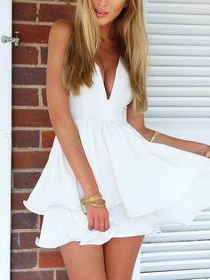 White Spaghetti Strap Plunge Layered Skater Dress | Choies