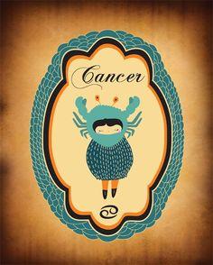 CANCER Zodiac Sign, Astrology Horoscope, Astrological Sign, Cancer Constellation, Animal Print Art Illustration / Poster. $19.00, via Etsy.