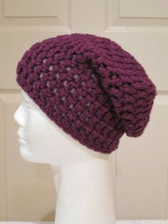 Chunky Wool Beanie Hat/Slouchy Hat- Egg Plant by VansBasicWear on Etsy
