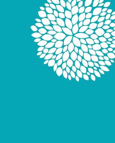 turquoise flower printable