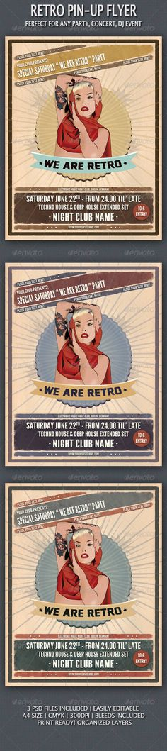 Pin-Up Vintage Flyer  #GraphicRiver         This Flyer/Poster was created to promote any kind of event, such a dj party, concert, festival. This poster may also be used for a new album promotion or other advertising purposes.   • 3 Psd Files • Smart Objects • Print Ready • A4 Size / (8.5×11) in • 300 dpi / CMYK • Easy to Edit • Organized Layers • Free Fonts Used • Bleeds Included   Fonts: League Gothic: freetypography /2009/12/11/free-font-league-gothic/ Legend M54:  .dafont…