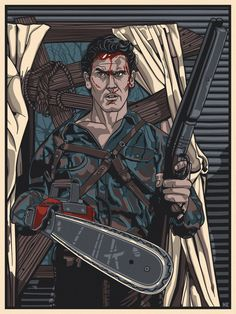 Dead By Dawn (Inspired by Ash / Evil Dead Artist: New Flesh Format: Screen Print - 7 colors (incl. metallic) Dimensions: x Paper: French Whitewash Markings: Signed & Numbered Edition Size: 75 Event: Guzu Gallery Presents - Icons of Horror Evil Dead Book, Evil Dead Trilogy, Evil Dead Movies, Ash Evil Dead, Scary Movies, Horror Icons, Horror Films, Horror Posters, Movie Posters