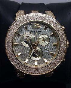 Men'S 5.00 Ct Diamond Joe Rodeo Black Band And Gold Face Watch