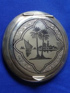 IRAQI SOLID SILVER COMPACT with signature of the maker