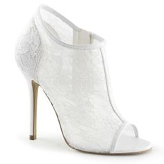 Pleaser Fabulicious Shoes Amuse-56 Ivory Lace Open Toe Ankle Booties Stiletto Heels