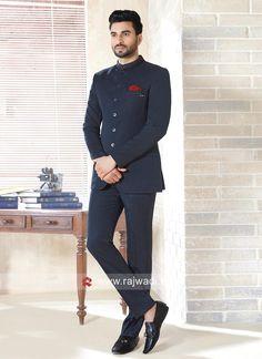 Attractive Dark Blue Color Jodhpuri Suit - Jodhpuri suits for men - Best Picture For Blazer Outfit with Best Picture For Blazer Outfit casual For Your Taste Yo Mens Casual Dress Outfits, Blazer Outfits Men, Dress Suits For Men, Formal Men Outfit, Stylish Mens Outfits, Men Dress, Formal Suits, Indian Men Fashion, Mens Fashion Suits