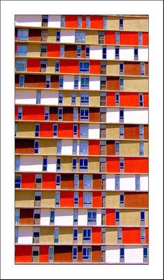 De colorful house buildings in Madrid_ Spain Colour Architecture, Architecture Portfolio, Facade Architecture, Madrid, Facade Pattern, Building Layout, Student House, Colourful Buildings, Design Museum