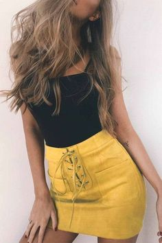Yellow Suede Lace-up Design Mini Skirt with Back Zipper