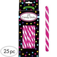Bright Pink Candy Sticks 25pc