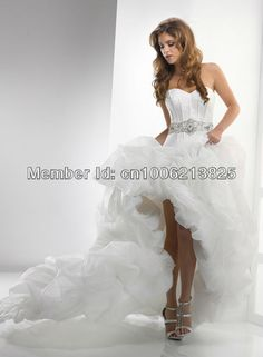 Best Selling 2013 Sweetheart Beaded Creped High-low Wedding Dresses Corset  UP Back Sexy Ball b513bd3ac6f8