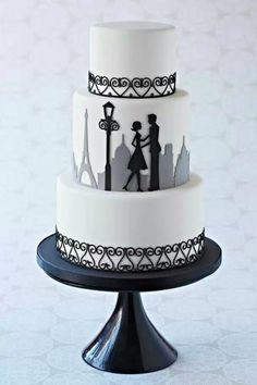 Bolo dos noivos inspirado em Paris. #casamento #bolodosnoivos #Paris #TorreEiffel #preto #branco #cinzento #noivos