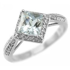 Crazy in love.  Fine Princess Blue Aquamarine & Diamond Engagement Ring 14k White Yellow Rose Pink Gold