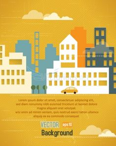 3D abstract vector illustration with buildings and clouds and birds