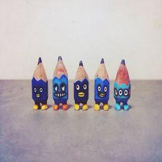 ✏️✏️✏️✏️✏️ #art #acrylic #artwork #tiny #figure #doll #tinydoll #wood #woodcarving #pencil #pencilman #etsy #creative #craftsposure #stationery #handmade #miniature #blue