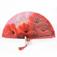 Abanico diseño con flores rojas