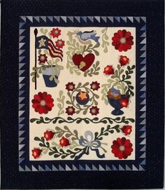 Quilt Pattern by Lisa DeBee Schiller, Indigo Junction, Inc.  This was needle turned hand appliqué.