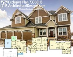 Architectural Designs Exclusive #HousePlan 73358HS. 5 beds. 4.5 baths. An indoor sports court. 4,600+ sq. ft. of living. Ready when you are. Where do YOU want to build? #73358HS #adhouseplans #architecturaldesigns #houseplan #architecture #newhome  #newconstruction #newhouse #homedesign #dreamhome #dreamhouse #homeplan  #architecture #architect #craftsmanhouse #craftsmanplan #craftsmanhome