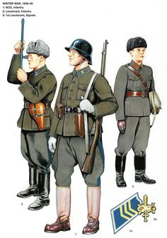 Esercito Finnico - Finnish Army officers and enlisted soldiers' summer field uniforms during the 1939-1940 Winter War.